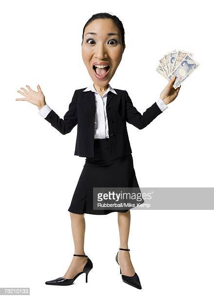 Caricature of businesswoman with Japanese currency