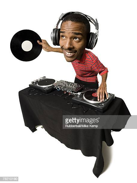 Caricature of DJ with headphones and records looking up