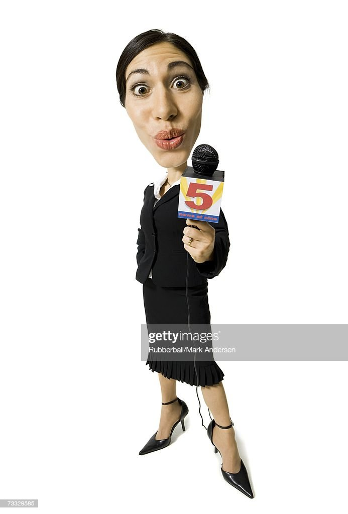 Caricature of female journalist with microphone : Stock Photo