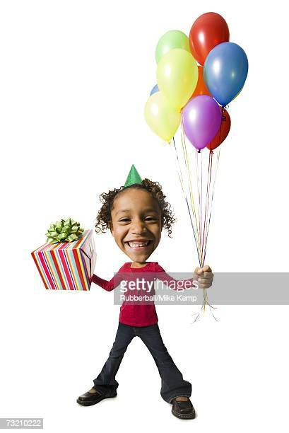 Caricature of girl with balloons and gift