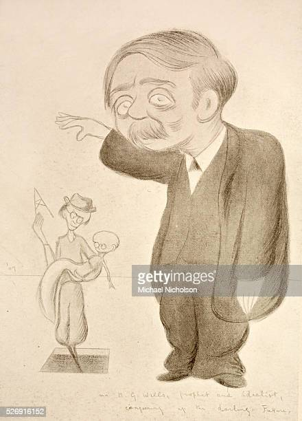 Caricature of HG Wells a believer in the theory of eugenics ushering in the baby future The text at the bottom of the drawing reads 'HG Wells prophet...