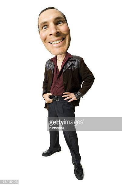Caricature of man in leather jacket smiling