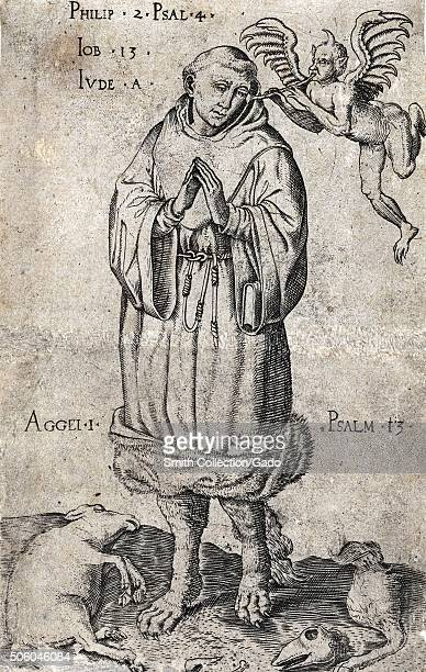Caricature of Martin Luther as a wolf in monk's habit with a small devil blowing evil thoughts into his ear Dead sheep left and right on the ground...