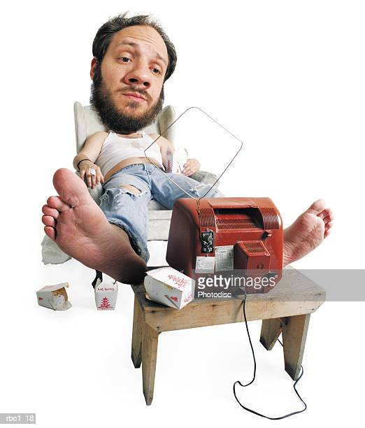 caricature of messy caucasian man with beard unwinding by watching beat up tv and eats chinese food