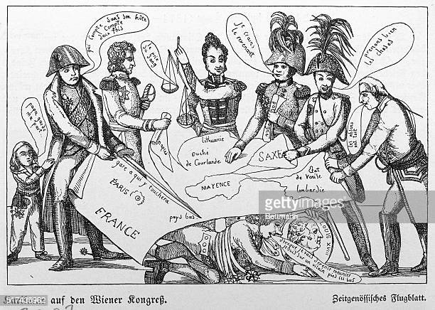Caricature of the Congress of Vienna showing the various leaders of Europe arguing over a map of Europe Undated illustration