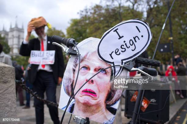 A caricature of the Prime minister Theresa May is pictured during a proPalestine demonstration in London on November 4 2017 The demonstration was...