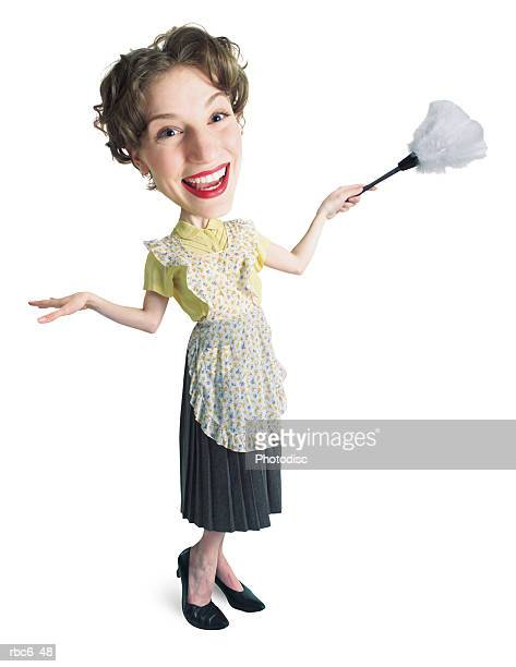 caricature of young caucasian woman as 50s era traditional homemaker with apron and feather duster