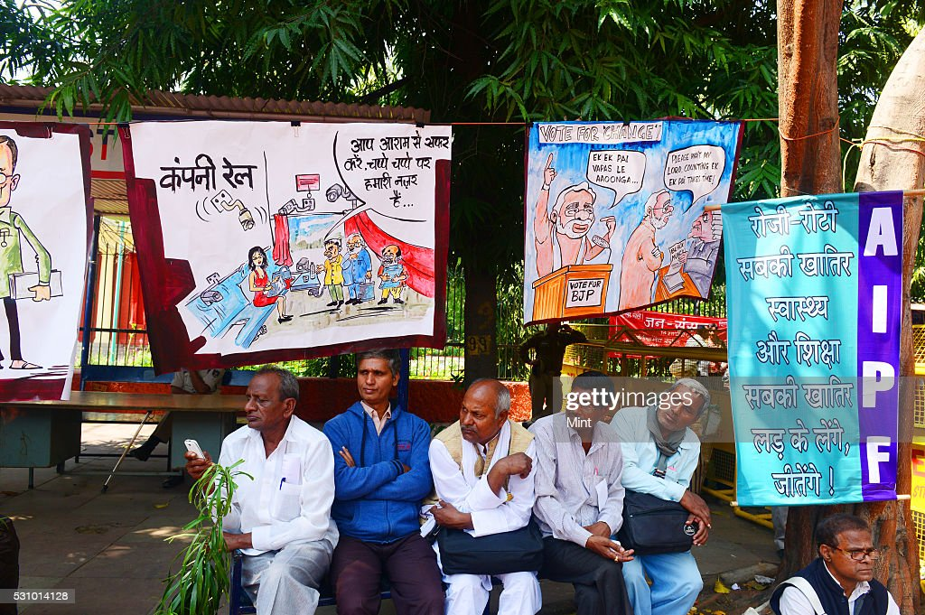 Caricatures and cartoons created by supporters of Communist Party of India protesting against NDA government at Jantar Mantar on March 17 2015 in New...