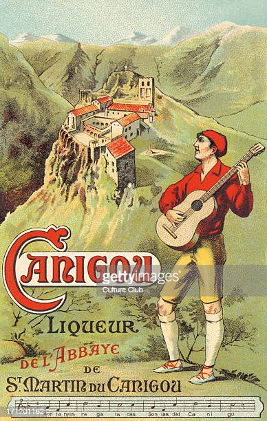 Carigou liqueur advertisement Catalan musician playing guitar and wearing typical red beret and espadrilles Carigou liqueur de l'Abbaye de St Martin...