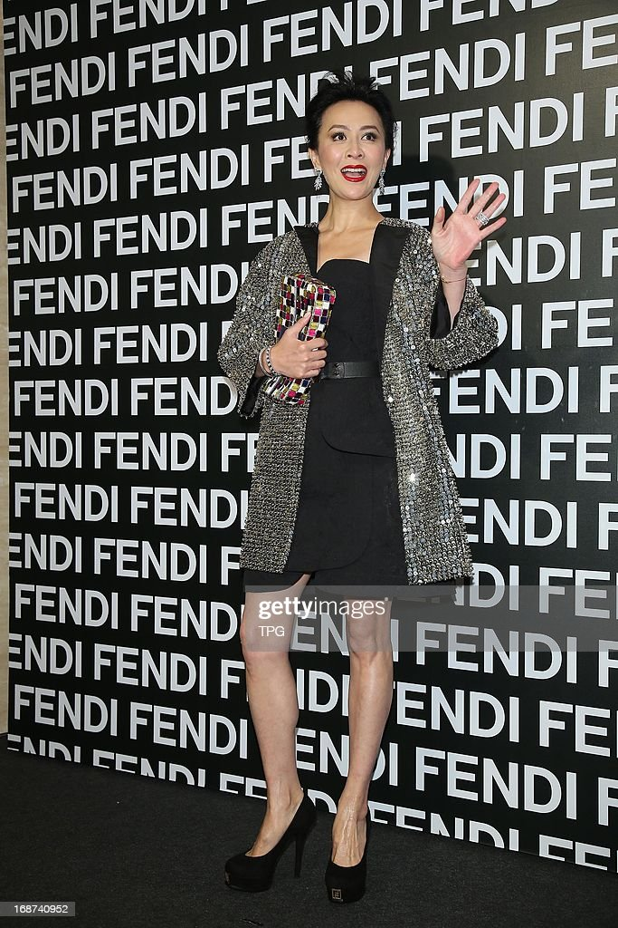 Carina Lau attends Fendi opening ceremony as cut the ribbon honored guest in gorgeous sequined coat on Tuesday May 14,2013 in Taipei Taiwan,China.