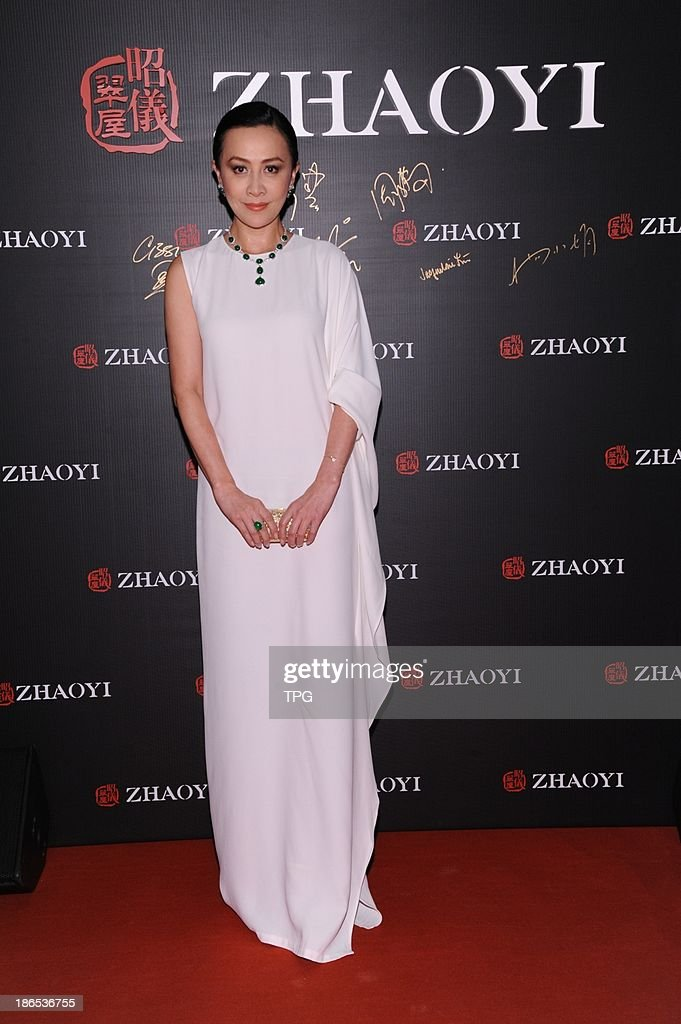 Carina Lau attends opening ceremony of a jewelry store on Thursday October 31,2013 in Hong Kong,China.