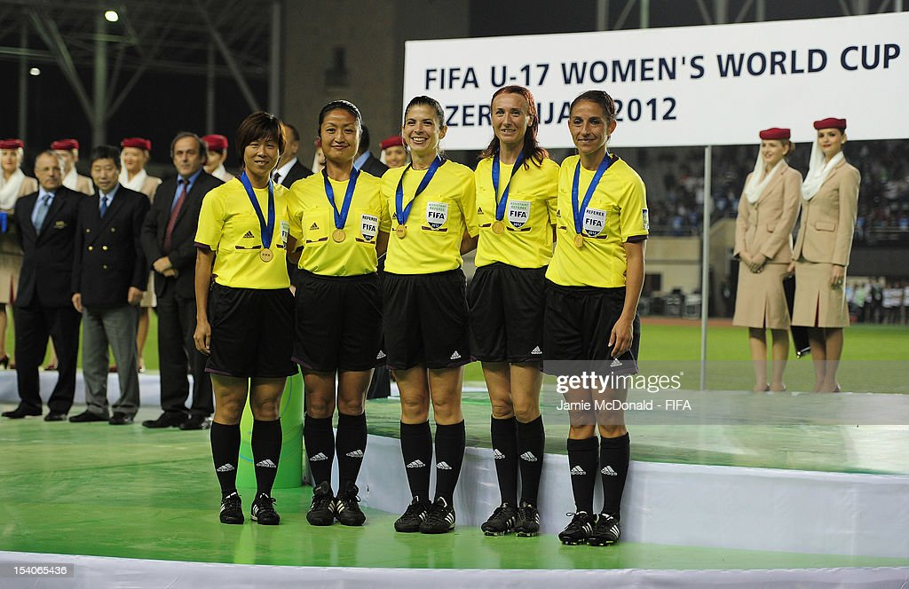 Carina Vitulano, Romina Santuari, Etsuko Fukano, Giuliana Guarina and Hsiu Mei Liu with their medals during the FIFA U-17 Women's World Cup 2012 Final match beween France and Korea DPR at Tofig Bahramov Stadium on October 13, 2012 in Baku, Azerbaijan.