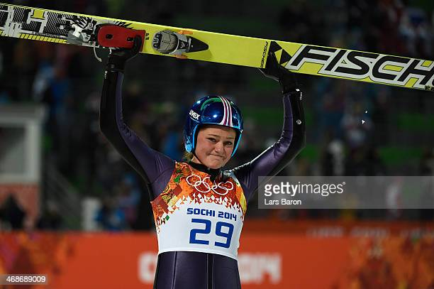 Carina Vogt of Germany celebrates winning the gold medal after the Ladies' Normal Hill Individual final round on day 4 of the Sochi 2014 Winter...