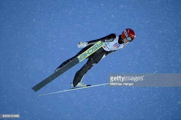 Carina Vogt of Germany competes in the Mixed Team HS100 Normal Hill Ski Jumping during the FIS Nordic World Ski Championships on February 26 2017 in...