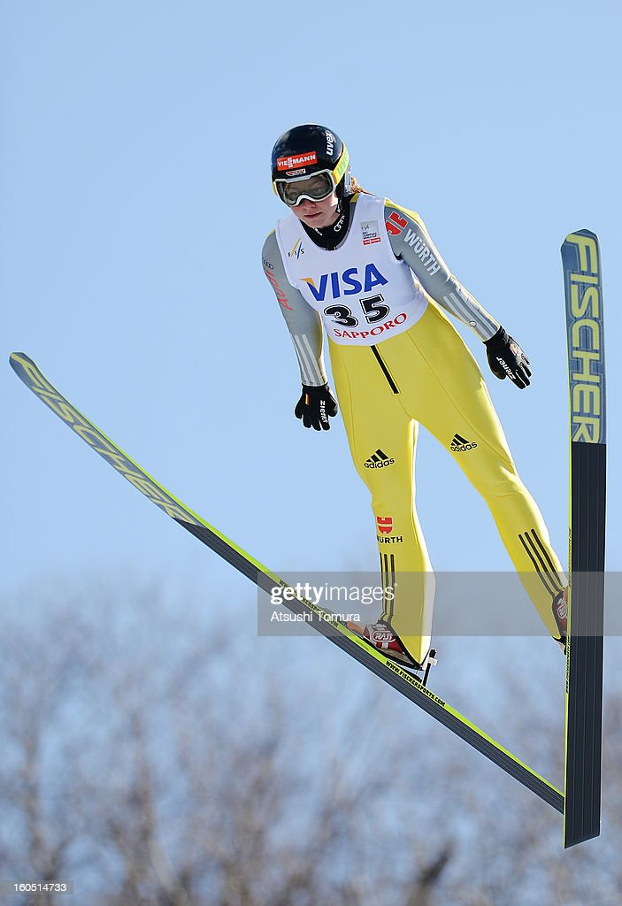 Carina Vogt of Germany in action during day one of the FIS Women's Ski Jumping World Cup at Miyanomori Jump Stadium on February 2, 2013 in Sapporo, Japan.