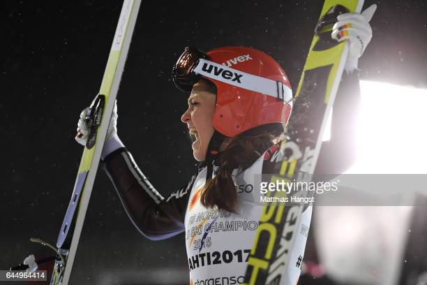 Carina Vogt of Germany reacts following her second jump in the Women's Ski Jumping HS100 during the FIS Nordic World Ski Championships on February 24...
