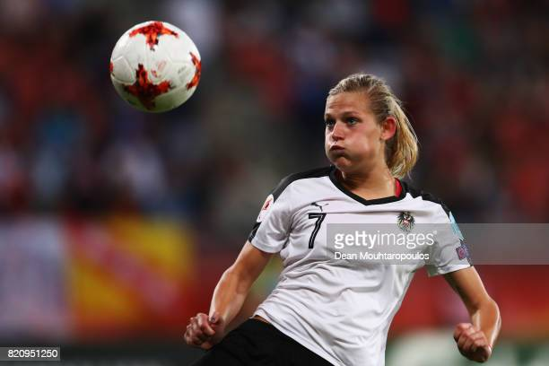Carina Wenninger of Austria in action during the Group C match between France and Austria during the UEFA Women's Euro 2017 at Stadion Galgenwaard on...