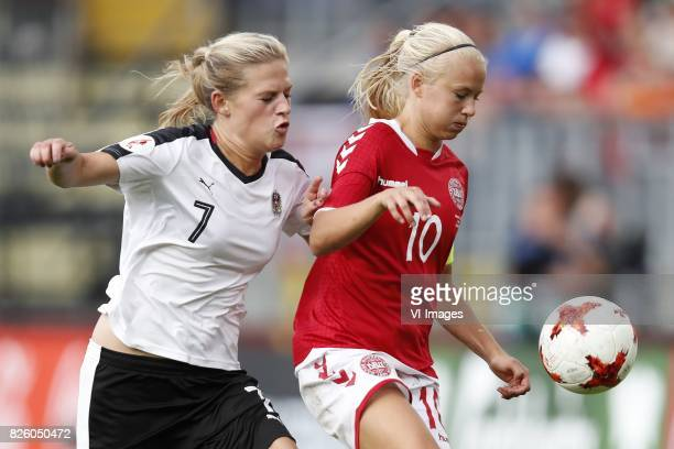 Carina Wenninger of Austria women Pernille Harder of Denmark during the UEFA WEURO 2017 semifinal match between Denmark and Austria at the Rat...