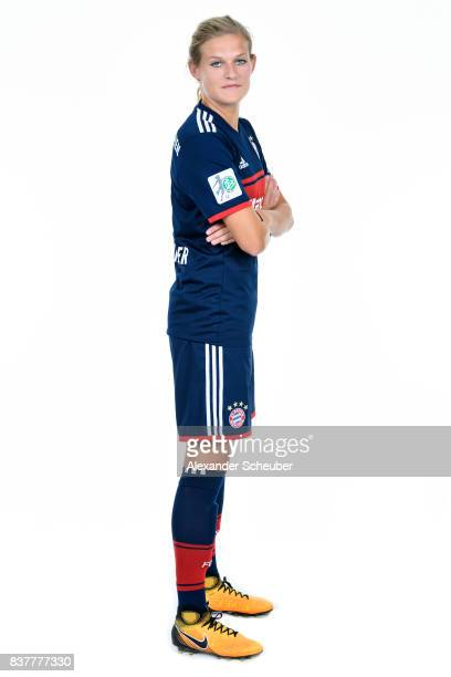 Carina Wenninger of Bayern Muenchen poses during the Allianz Frauen Bundesliga Club Tour at FC Bayern Muenchen Campus on August 20 2017 in Munich...