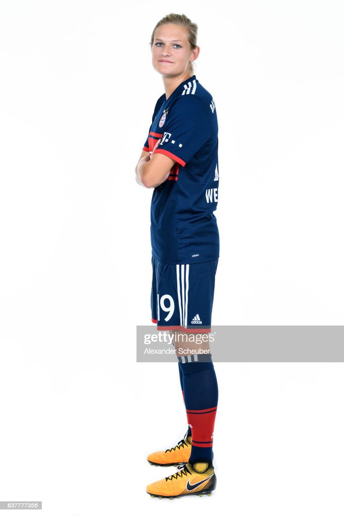 Carina Wenninger of Bayern Muenchen poses during the Allianz Frauen Bundesliga Club Tour at FC Bayern Muenchen Campus on August 20, 2017 in Munich, Germany.