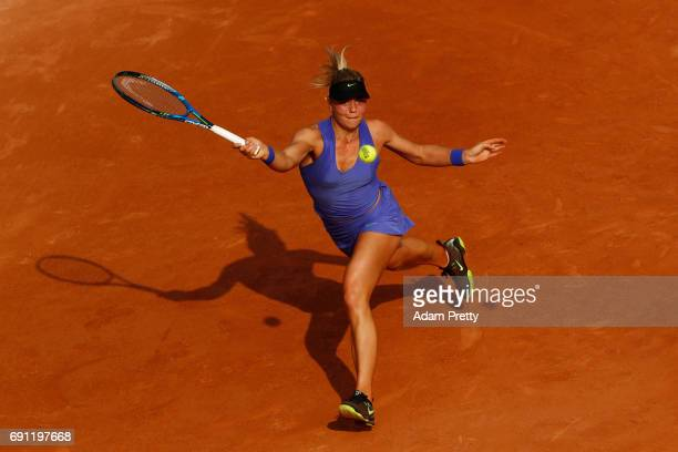 Carina Witthoeft of Germany hits a forehand during the ladies singles second round match against Pauline Parmentier of France on day five of the 2017...