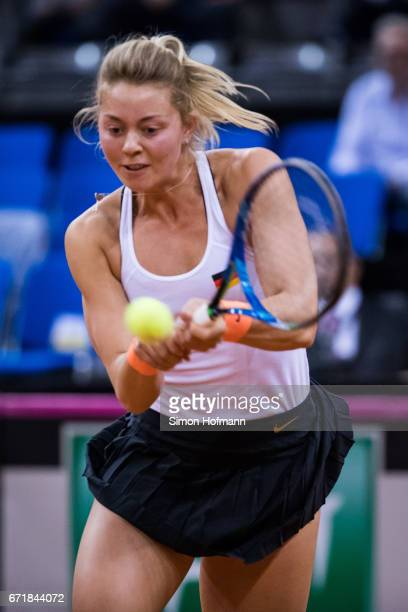 Carina Witthoeft of Germany in action during the doubles match against Olga Savchuk and Nadiia Kichenok of Ukraine during the FedCup World Group...