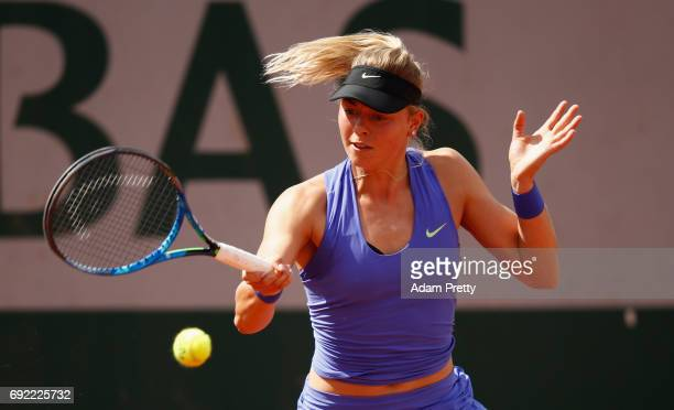 Carina Witthoeft of Germany in action during the ladies singles third round match against Karolina Pliskova of The Czech Republic on day eight of the...