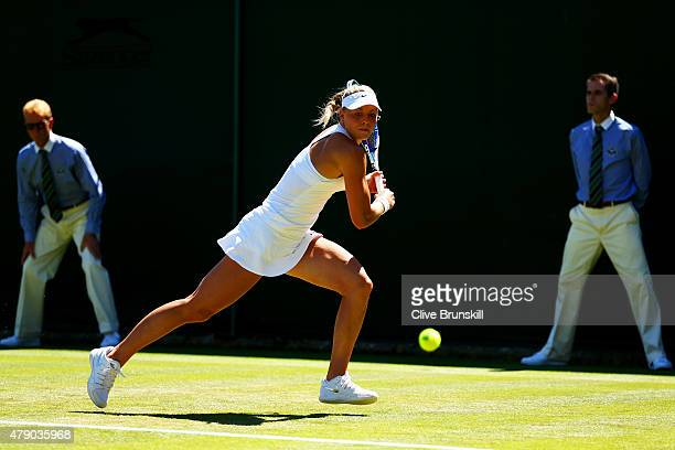 Carina Witthoeft of Germany in action in her Ladies Singles first round match against Angelique Kerber of Germany during day two of the Wimbledon...