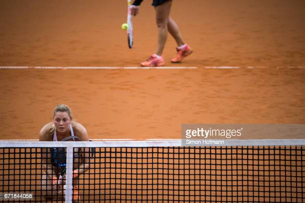 Carina Witthoeft of Germany looks on during the doubles match against Olga Savchuk and Nadiia Kichenok of Ukraine during the FedCup World Group...
