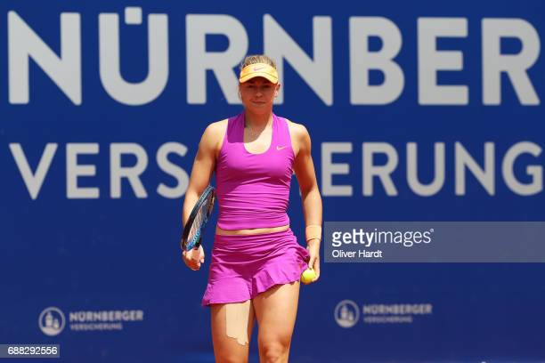 Carina Witthoeft of Germany of xxx in action against Barbora Krejcikova of Czech Republic in the quarter final during the WTA Nuernberger...