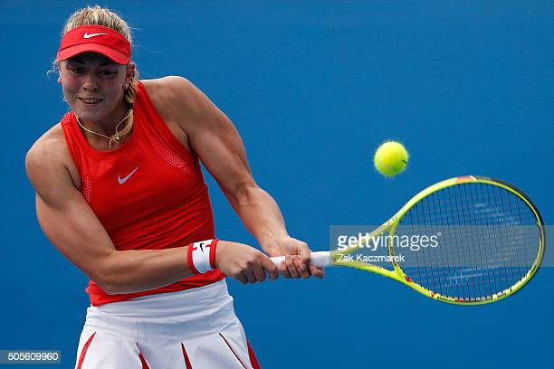 Carina Witthoeft of Germany plays a backhand in her first round match against Saisai Zheng of China during day two of the 2016 Australian Open at...