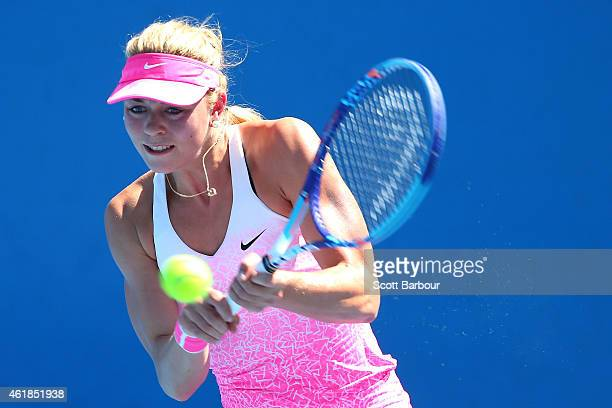 Carina Witthoeft of Germany plays a backhand in her second round match against Christina McHale of the United States during day three of the 2015...