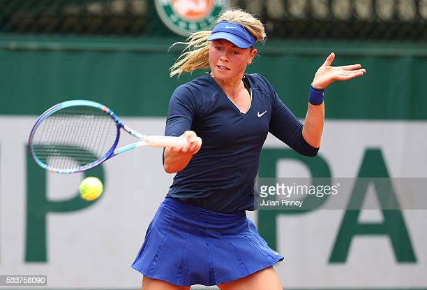Carina Witthoeft of Germany plays a forehand during the Women's Singles first round match against Zarina Diyas of Kazakhstan on day two of the 2016...
