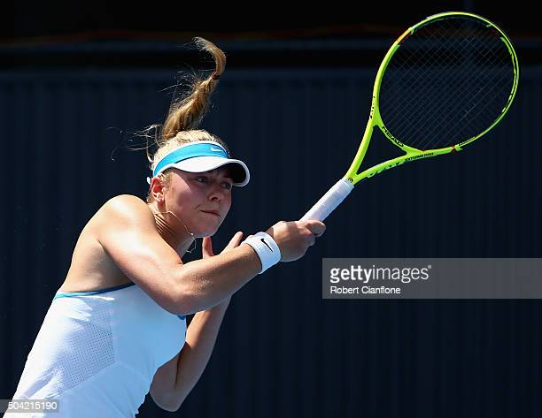 Carina Witthoeft of Germany plays a forehand in the women's singles match against Alison Van Uytvanck of Belgium during day one of 2016 Hobart...