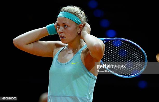 Carina Witthoeft of Germany reacts during her match against Caroline Garcia of France on day four of the Porsche Tennis Grand Prix at PorscheArena on...