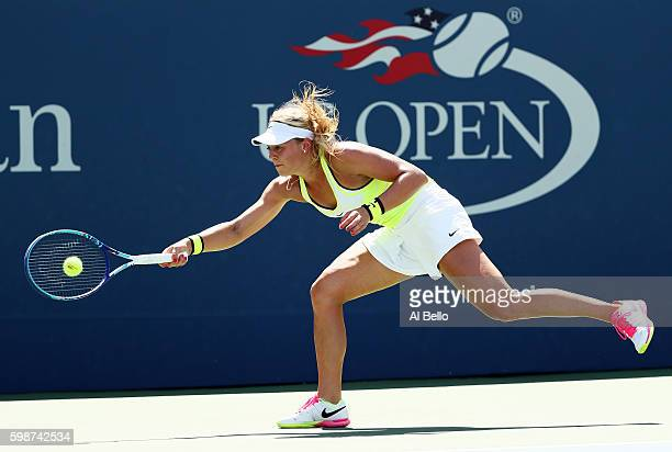 Carina Witthoeft of Germany returns a shot to Roberta Vinci of Italy during her third round Women's Singles match on Day Five of the 2016 US Open at...