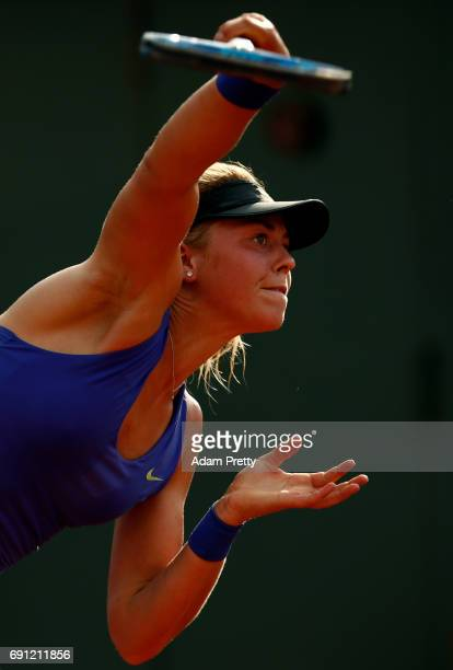 Carina Witthoeft of Germany serves during the ladies singles second round match against Pauline Parmentier of France on day five of the 2017 French...