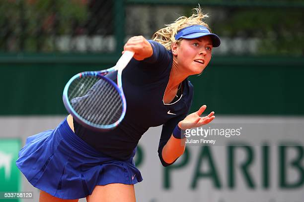 Carina Witthoeft of Germany serves during the Women's Singles first round match against Zarina Diyas of Kazakhstan on day two of the 2016 French Open...