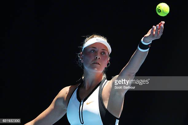 Carina Witthoeft of Germany serves in her second round match against Angelique Kerber of Germany on day three of the 2017 Australian Open at...