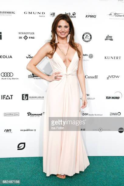 Carina Zavline GNTM Top 8 finalist wearing a dress designed by Eva Lutz attends the GreenTec Awards at ewerk on May 12 2017 in Berlin Germany