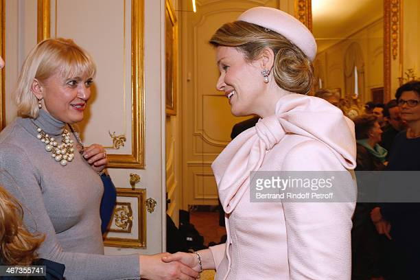 Carine Jacquot Billet and Queen Mathilde Of Belgium attend the King Philippe of Belgium and Queen Mathilde Of Belgium visit the Residence of the...