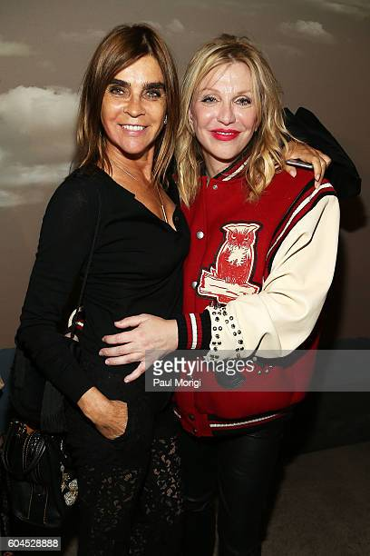Carine Roitfeld and Courtney Love pose backstage at the Coach 1941 Women's Spring 2017 Show at Pier 76 on September 13 2016 in New York City