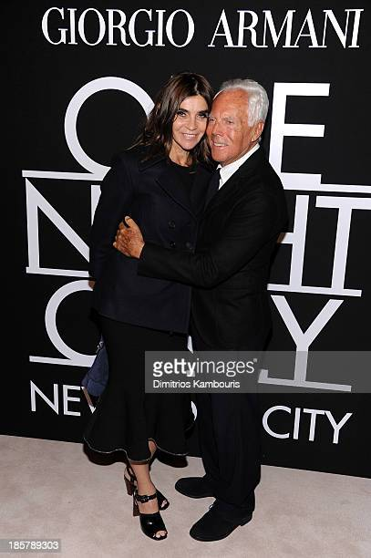 Carine Roitfeld and fashion designer Giorgio Armani attend Giorgio Armani One Night Only NYC at SuperPier on October 24 2013 in New York City