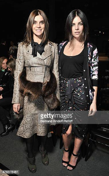 Carine Roitfeld and Julia Restoin Roitfeld attend the Givenchy show as part of the Paris Fashion Week Womenswear Fall/Winter 20142015 on March 2 2014...