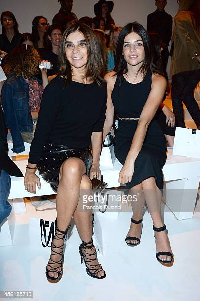 Carine Roitfeld and Julia Roitfeld attend the Mugler show as part of the Paris Fashion Week Womenswear Spring/Summer 2015 on September 27 2014 in...
