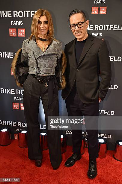 Carine Roitfeld and Naoki Takizawa attend the UNIQLO Fall/Winter 2016 Carine Roitfeld collection launch at UNIQLO on October 26 2016 in New York City