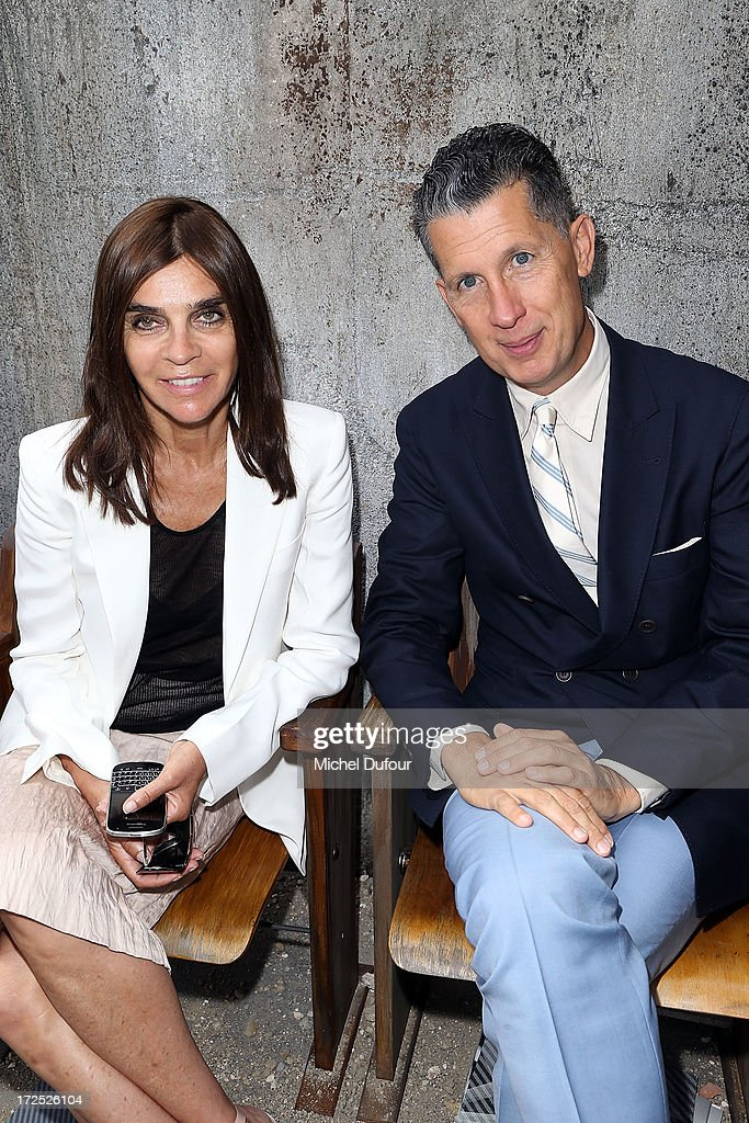Carine Roitfeld and Stefano Tonchi attend the Chanel show as part of Paris Fashion Week Haute-Couture Fall/Winter 2013-2014 at Grand Palais on July 2, 2013 in Paris, France.