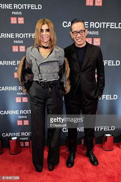 Carine Roitfeld and UNIQLO creative director Naoki Takizawa attend the UNIQLO Fall/Winter 2016 Carine Roitfeld Collection Launch at UNIQLO on October...