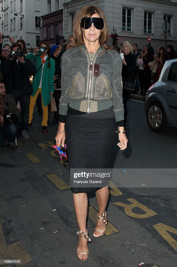 Carine Roitfeld arrives at the Jean-Paul Gaultier Spring / Summer 2013 show as part of Paris Fashion Week on September 29, 2012 in Paris, France.