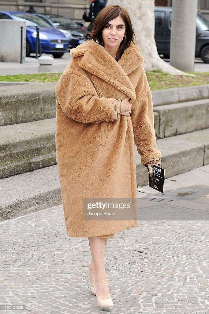 Carine Roitfeld arrives at the Roberto Cavalli fashion show as part of Milan Fashion Week Womenswear Fall/Winter 2013/14 on February 23, 2013 in Milan, Italy.